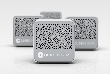 four CubeSensors sitting next to one another