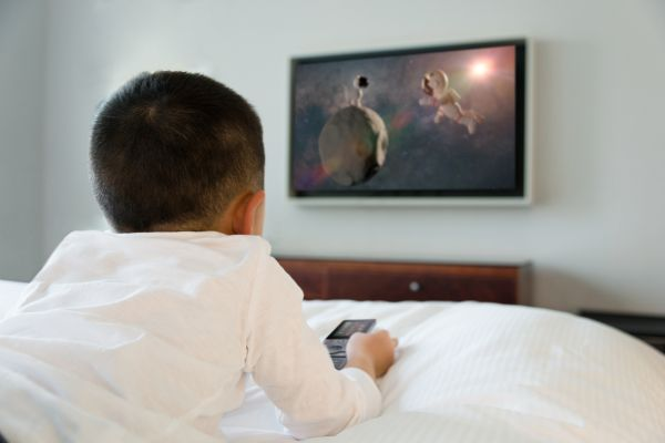 Child watching a smart TV
